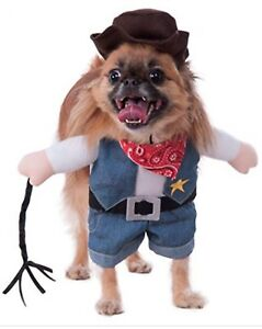 Rubie's Costume Walking Cowboy Pet Dog Costume Halloween Shirt With Arms Hat NEW