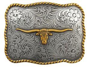 LONGHORN STEER TROPHY WESTERN TEXAS COWBOY BULL SILVER BELT BUCKLE