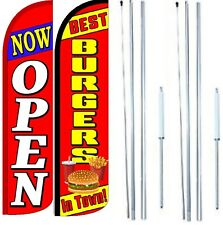 Best Burgers In Town Now Open Windless Flag with Hybrid Pole set - Pack of 2