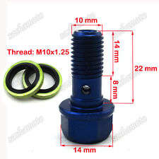 Blue M10x1.25 Banjo Bolt For Dirt Bike ATV Quad Go Kart Moped Brake Oil Cooler