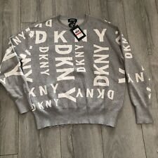 DKNY Logo Drop Shoulder Grey Lurex Jumper Size XS