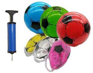 4x Kinderball Ø 20 cm Fussball + Ballpumpe Kunststoffball bunte Farben Ball ⚽