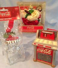 Coca-Cola Ornaments Glass Santa-75th Anniv., Metal Red Jukebox, Stool  Lot/3 $41