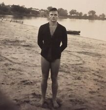 ORIGINAL vintage GAY INTEREST PHOTO BEEFCAKE MAN BULGE SHIRT SWIMSUIT LAKE BEACH
