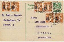 "SCHWEIZ ""ZÜRICH 5 / PREDIGERPLATZ"" grosser K1 a. 10 C Tellbrustbild GA-Postkarte"