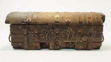 Ancien coffret S. Burgos Espagne art populaire religieux messenger box wood