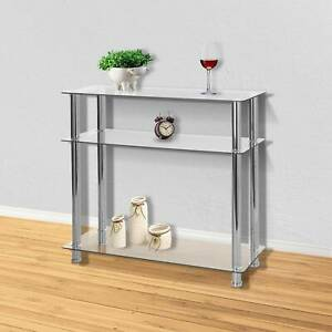 New Glass Console Table Clear Glass Chrome Legs 3 Tier Modern Hallway Table UK