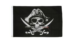 Pirat mit blutigem Säbel Hissflagge Piraten Fahnen Flaggen 60x90cm
