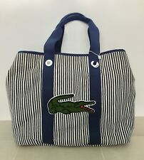 NWT Lacoste blue and white stripe beach bag / diaper bag / school bag--RARE!!