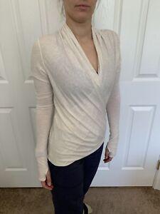Lululemon Size 4 Radiant Long Sleeve Wrap Cross Top  Oatmeal Off White Soft Pima
