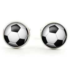 FOOTBALL CUFFLINKS  SILVER PLATED + FREE GIFT BOX  & 1ST CLASS POST