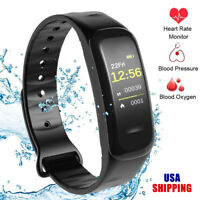 Sports Blood Pressure Oxygen Monitor Heart Rate Smart Wrist Band Watch Bracelet