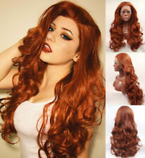 """US STOCK 24"""" Lace Front Wig Synthetic Hair Body Wavy Copper Red Heat Safe"""