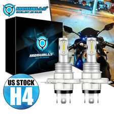 1 Pair H4 9003 LED Bulbs Hi-Lo Beam White Motorcycle Headlight High Power 6000K
