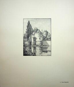 🌓 GEORGES SALLE Bruges La Porte Maréchal gravure sur vélin d'arches teinté #1
