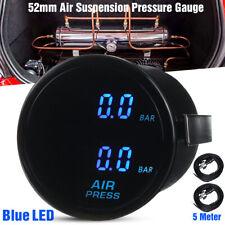 """2"""" 52mm Dual Digital Air Pressure Gauge BAR Air Suspension Meter Blue LED Sensor"""
