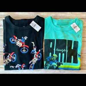 Gap Boys BMX T-Shirts Tees Green Black Large / 10 NEW - LOT OF 2