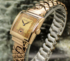 Vintage mens 1941 Benrus STUNNING 2 TONE DIAL 21J ROSE GOLD Art Deco Tank Watch