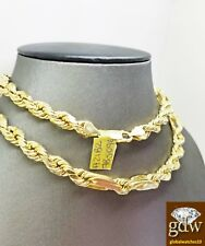 "Real 10k Yellow Gold Men's Milano Rope Chain Necklace, 24"" 7mm, Cuben, Franco N"