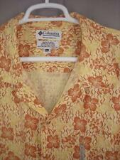 Columbia mens Hawaiian Aloha shirt sz XL yellow brown cocktail glasses print