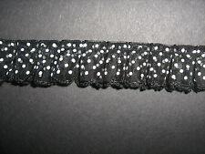 NERO POLKA DOT SHEER pince quadrata sulle Trim 1 metro cucito / costumi / artigianato / corsetry