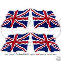"British UNION JACK Flying Flag UK United Kingdom 50mm (2"") Stickers, Decals x4"