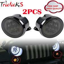 Pair LED Turn Signal Light Assembly w/ Smoke Lens for 07-16 Jeep Wrangler jk tj