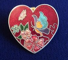 Vintage Crimson Red Enamel Cloisonne Butterflies Heart Pin Brooch Pendant