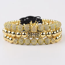 Luxury Men's Micro Pave CZ Ball Crown Braided Adjustable Bracelets Charm Jewelry
