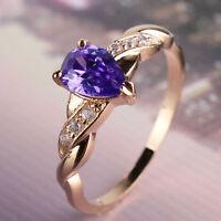 Unique purple sapphire 18K gold filled Luxury  heart shape Promise ring SzJ-SzR