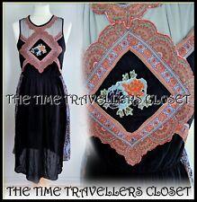 River Island Chelsea Girl Black Midi Paisley Mesh Vintage Boho Dress UK 12 38 8