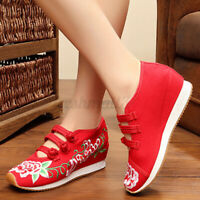 Womens Ladies Retro Style Flats Fashion Flower Embroidered Shoes Comfy Casua