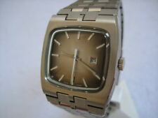 NOS NEW SWISS AUTOMATIC DATE VINTAGE MEN'S BUCHERER REVUE ANALOG WATCH 1960'S