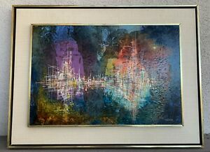 "LEONARD NIERMAN ABSTRACT ""CITY GRID"" ORIGINAL PAINTING OIL ON BOARD. 24x16. 1960"