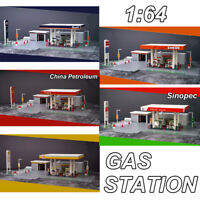 1:64 Gas Station DIY Assembly Model Sinopec,Shell,ENEOS,GULF Fit for Diecast Car