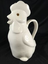 vintage white ceramic rooster pitcher Marcia ceramic