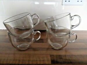 FOUR LARGE GLASS COFFEE/TEA CUPS/MUGS