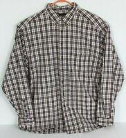 Eddie Bauer Mens Sz 2XL XXL Red Blue White Plaid Button Down Shirt Long Sleeve