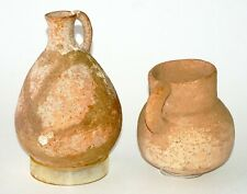 2Pc Ancient Middle Eastern/Roman Larger Pottery Jars or Pots w. Handle (MeE)