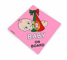 personalised baby on board car pink vinyl sticker portuguese flag