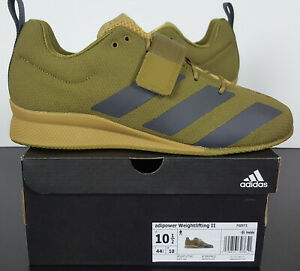 ADIDAS ADIPOWER WEIGHTLIFTING II SHOES MOSS GREEN BLACK NEW FX0573 (SIZE 10.5)