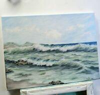 """Art 16""""/12"""" oil painting, ocean, waves, beach seascape, landscape,surf"""
