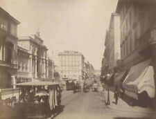 HORSE DRAWN TRANSPORTATION, ROME, ITALY STREET SCENE. ALBUMEN. 1890s.