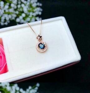 4x6mm Oval cut Sapphire Necklace Beautiful Color Pendant Gift 10k Rose Gold Over