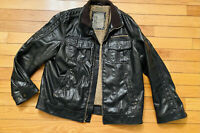 BKE Men's  Faux Brown Leather Lined Bomber Jacket Size Large