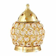 CRYSTAL AKHAND JYOTI DIYA DEEPAK BRASS FINISHED FOR HINDU POOJA HOME DECOR SPA