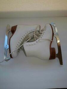RIEDELL Wilson Excel 220 figure ice skates white Size 4 M John Wilson blades