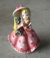 "Vintage 1950s Glazed Ceramic Japan Girl with Umbrella Figurine 5"" Tall"