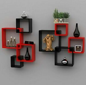 Wooden wall shelf (Set of 8), intersect wooden shelf (Red and Black)