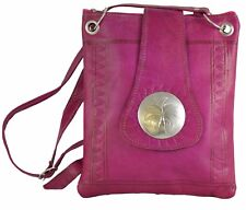 Moroccan Handbag Carved Leather  Evening Shoulder Strap  Bag iPad-Purse Magenta